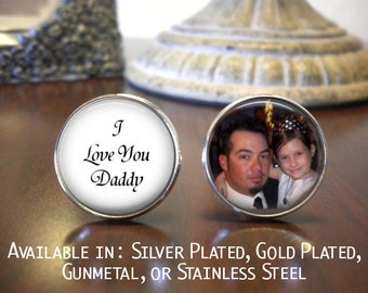 SALE! Father of the Bride Cufflinks - Personalized Cufflinks - I Love you Daddy with Photo- Cyber Monday