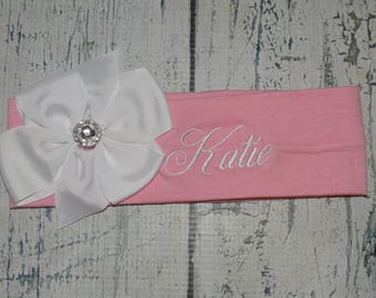 Personalized Head Band with Rhinestone Bow