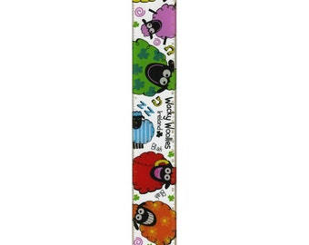 "Plastic Wacky Woollies Style 12"" Ruler With Multi-Coloured Sheep Design ***Free Shipping***"