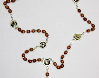 Servite Rosary Our Lady Of The Seven Sorrows Brown Wood Beads Mater Dolorosa Chaplet of Seven Sorrows Handmade