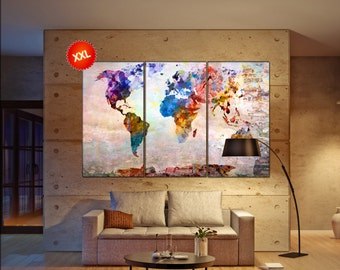 colorful world map  print on canvas wall art Large colorful world map art artwork large world map  Print home office decoration