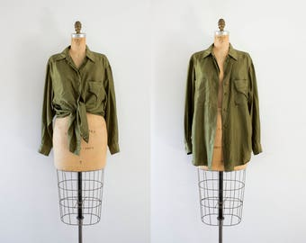 1990s Olive Grove silk simplistic blouse / 90s Express
