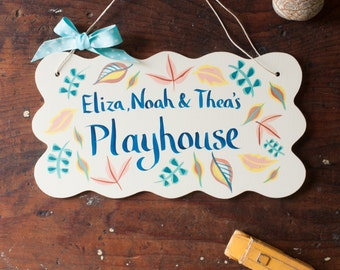 Playhouse sign - hand painted sign for children - door sign - treehouse sign - im in the garden sign for gardeners - personalised wood