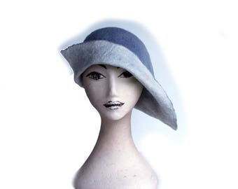 Hand felted hat, Grey Archers Hat, Flapper style hat