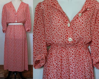 Vintage 1980s Red and White Abstract Dress