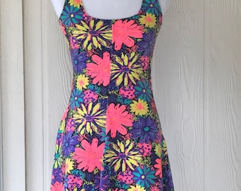 Vintage 1990s neon colors floral babydoll dress