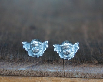 Handmade Silver  Winged Cherub Post Stud Earrings for Pierced Ears