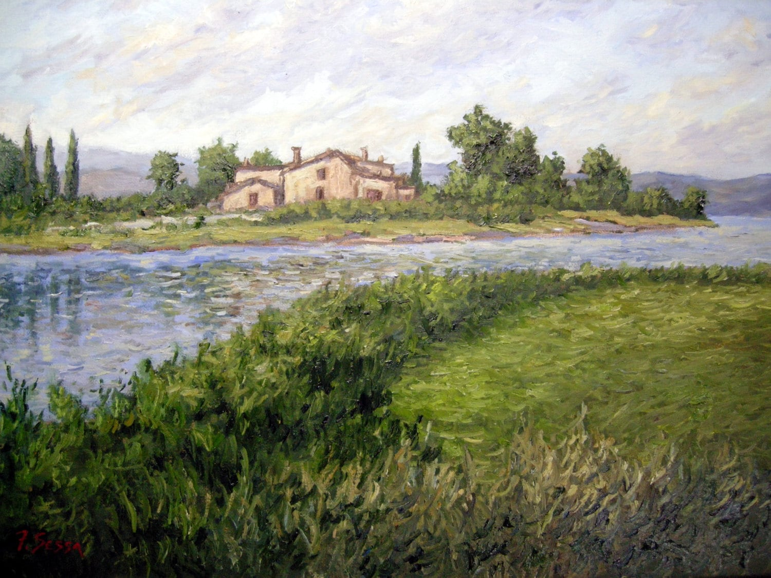Original oil painting landscape water reflection Tuscany