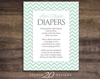 Instant Download Mint Chevron Late Night Diapers, 8x10 Spearmint Chevron Diaper Thoughts, Mint Baby Shower Decorate Diaper Activity 60C