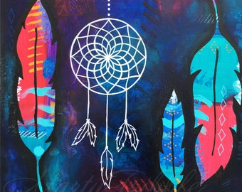 Feather Painting, Native American Painting, Original Painting, Acrylic Painting, Colorful Painting, Dream Catcher Painting, Tribal Painting