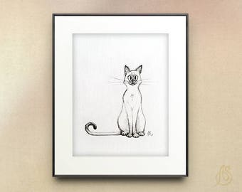 Siamese Cat Art // Siamese Cat Illustration // Cat Pencil Drawing // Cat wall art print //