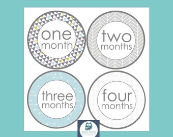 First Year Stickers, Boy Month Stickers, Monthly Milestone Stickers, Baby Shower Gift, Unisex, Gray and Blue