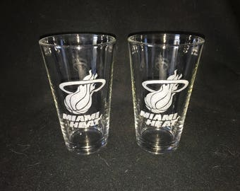 Miami Heat Hand Etched Pint Glasses!