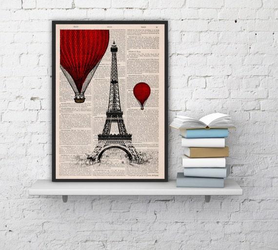 Eiffel Tower Red Hot Air Balloon Print, Art Print, Balloon Illustration art, wall decor over PARIS., Romantic Gift TVH027