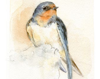 Barn Swallow watercolor painting - bird watercolor painting - 5x7 inch print - 0172