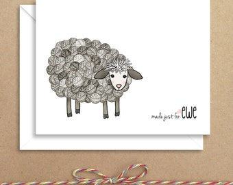 Knitting Sheep Note Cards - Thank You Folded Notes - Knitting Thank You - Illustrated Note Cards