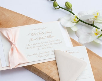 """Charming Invitation Suite – A blush wedding invitation suite from the Simply Sleek Designs """"Simply Chic Collection"""""""