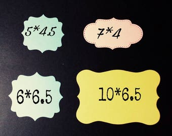 Tags, identification cards for gifts, details, in various models and colors