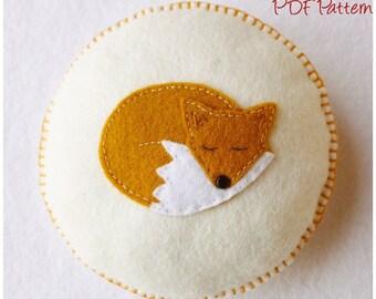 Sleepy Fox Pincushion pdf Sewing Pattern