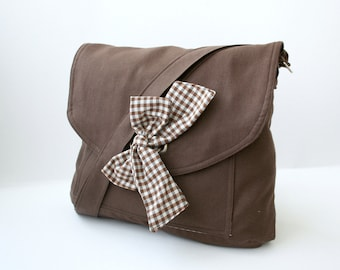 Chocolate Brown Messenger  Bag  Brown and White Gingham  Bow Adjustable strap For women for New Mom