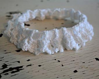 White Bridal Garter-Large