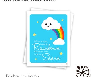 Cute Rainbow Inspirational Print Room Decor