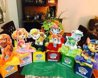 Paw patrol inspired Centerpieces-boys birthday decor-Marshall-Chace-Paw Patrol birthday