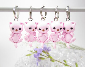 Cat Stitch Markers cat miniature animal polymer clay cat charm knitting accessories cat gifts for knitters women gift cute cat kitten knit