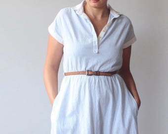 vintage striped dress | blue white cotton midi dress | 80s medium - large