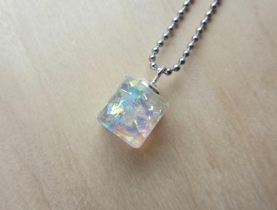 Holographic prism cube pendant necklace 10 mm square glitter mozeypictures Images