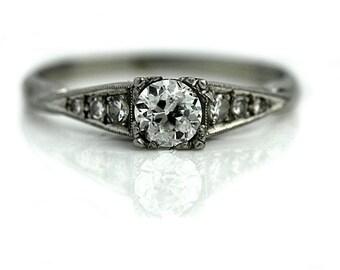 "Antique Diamond Ring Vintage 1930's Old European Cut Diamond Engagement Wedding Anniversary Ring Platinum ""The Gina"""
