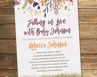 Beautiful Fall Baby Shower Invitation, Autumn Baby Shower, Watercolor, Floral, Fall  Flowers,