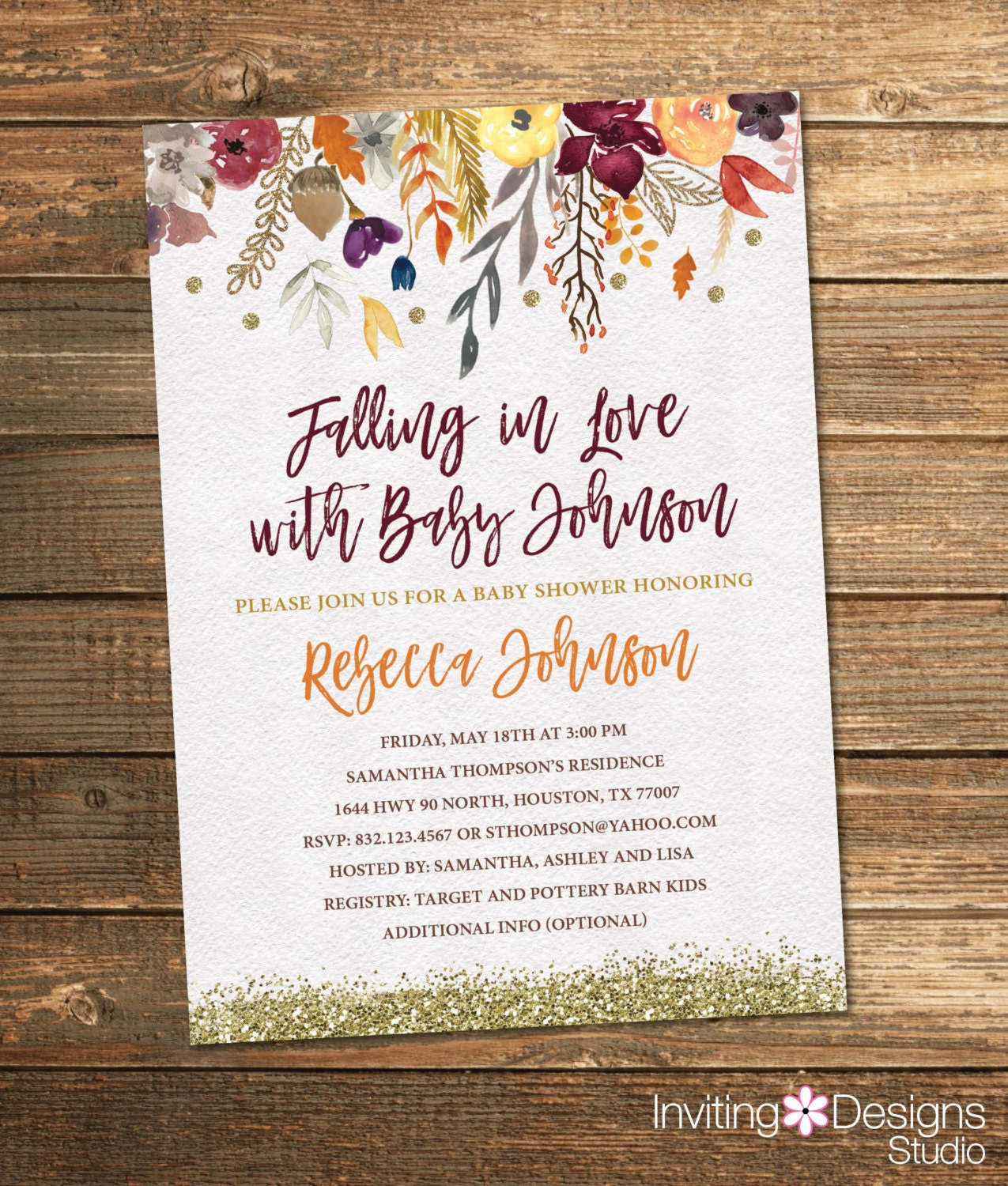 Fall Baby Shower Invitation Autumn Baby Shower Watercolor