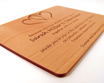 Engraved Wooden Wedding Invitation - Real Wood Invitation - Double Heart Design Joined Heart Design