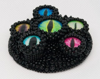 Eyes on Stalks Bead Embroidered Statement Brooch