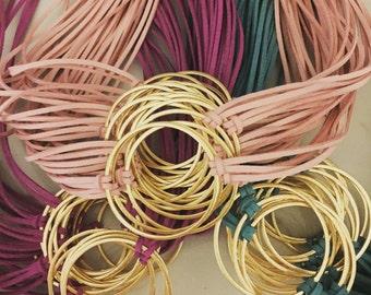 Gold Hoop Leather Wrap Bracelet
