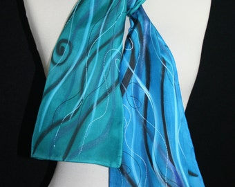 Silk Scarf Handpainted. Turquoise, Teal Hand Painted Shawl. Handmade Silk Stole OCEAN BREEZE, Size 8x54. Birthday Gift, Bridesmaid Gift