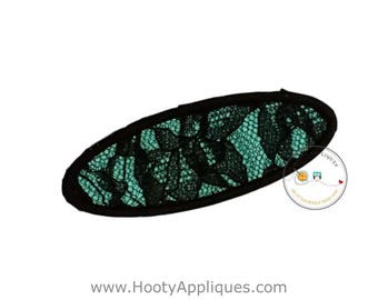 Black lace oval name tag iron on applique, teal black fabric iron on name label, embroidered iron on patch