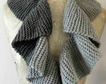 Curly Gray Scarf-Handmade knitting scarf-Gray skies- Dark Gray Light Gray unisex-gift for her and him christmas gift