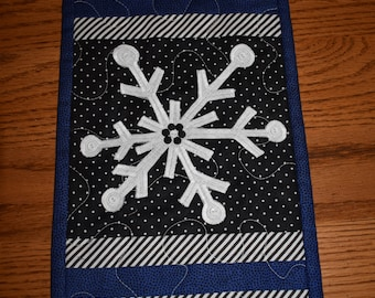 """The Snowflake is the name of this little Quilt in Blue, Black and White   16.5"""" x 8"""""""