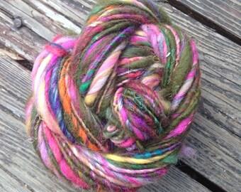 Wood Sprite OOAK handspun art yarn 47 yards natural fibers and bright colors!