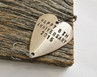 Eighth Anniversary Gift for 8th Wedding Anniversary Bronze Gift for Him Her Personalized Fishing Lure Custom Commitment Birthday Husband Men