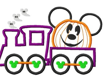 Train Carrying Character Mouse Inspired Halloween Pumpkin Jack O lantern Head Embroidery Applique Design