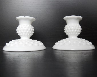 Vintage Hobnail Milk Glass Candle Holders