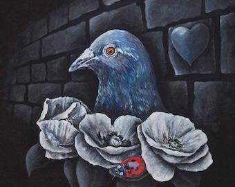 Pigeon, Ladybird & Poppies Print