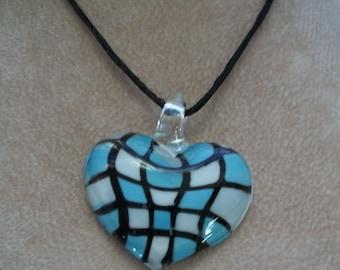 Heart Pendant, Blue Art glass necklace, by Brendas Beading on Etsy