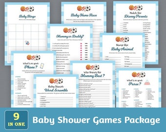 Baby Shower Games Package, Download Party Games Bundle, Baby Shower Games Set, Football Sports Baseball, Unique Games Pack, SPKG, B011