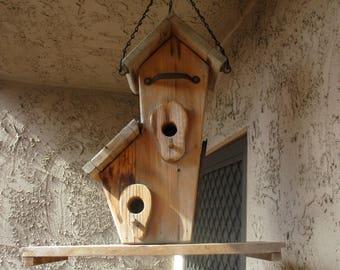 Large Rustic Handmade Wooden Hanging Birdhouse Farmhouse Garden Decor! #BV