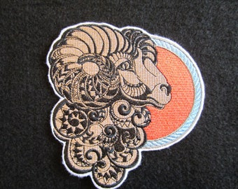 Aries The Ram Embroidered Zodiac Sign Iron On Patch, Iron On Patch, Aries The Ram, Horoscope Patch