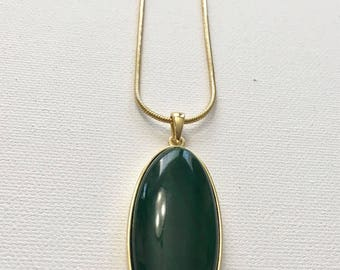 Long Green Stone Pendant Necklace on Snake Chain